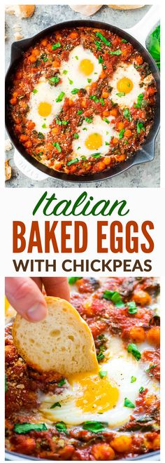 Italian Baked Eggs in Purgatory – Eggs baked in garlic tomato sauce with chickpeas, spinach, Parmesan, and fresh basil. Cheap, easy, and healthy! Also called eggs in purgatory or shakshuka, it's a crowd pleasing recipe that's perfect for brunch and quick dinners. Recipe at wellplated.com | @wellplated
