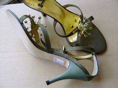 WoW! Green silk and crystal bling!  Olivegreen shoes are very rare