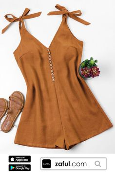 Spring and Summer No Button Solid Sleeveless Plunging Regular Casual Casual Tie Strap Romper Cute Casual Outfits, Casual Dresses, Fashion Dresses, Mode Rockabilly, Plus Size Jumpsuit, Looks Plus Size, Trendy Fashion, Womens Fashion, Latest Fashion