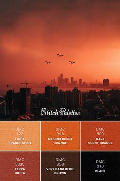 Floss color inspiration for cross stitch and embroidery projects. Thread colors used: DMC Light Orange Spice / DMC Medium Burnt Orange / DMC Dark Burnt Orange / DMC Terra Cotta / DMC Very Dark Beige Brown / DMC Black. Palette ID: Orange Paint Colors, Orange Color Schemes, Orange Palette, Dark Color Palette, Orange Color Palettes, Color Schemes Colour Palettes, Burnt Orange Color, Light Orange, Sunset Color Palette