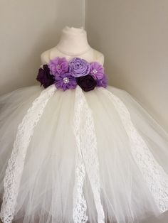 Plum purple lavender and purple flower girls by AnaBeanDesigns