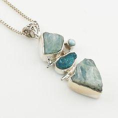 Aquamarine, Apetite Rough & Larimar Sterling Silver Pendant