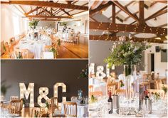 The Brindley Room decorated in a rustic floral theme with wooden chairs