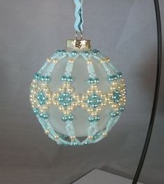 Blue Diamonds Ornament Cover Beaded by dentedhalo on Etsy, $30.00