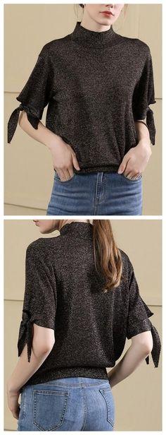 9edb992efd9 Black High Neck Tie Cuff Women Wool Sweater. Wool Sweaters