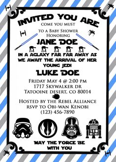 star wars baby shower invite! so cute for a star wars themed baby shower or even birthday party! May the force be with you!