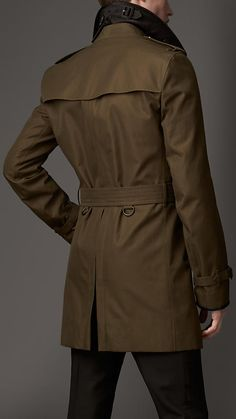 Burberry London Wool Cashmere Detail Gabardine Trench Coat