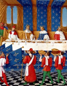 Banquet given by Charles V in honour of his uncle Emperor Charles IV. Jean Fouquet. century. XV.