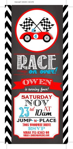 Racecar Birthday Invitation-Digital File Only on Etsy, Sold