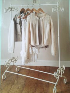 Vintage Cream Clothing Rail Shabby Chic Clothes Storage