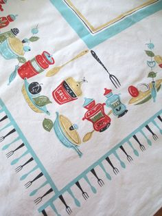 Vintage Cotton Printed Tablecloth  Aqua Turquoise by AStringorTwo, $24.00