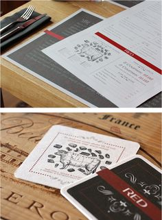 Design by The Potting Shed | Letterpressed menu covers identify upscale steak house and wine bar Red via UCLLC