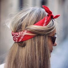 Instagram Insta-Glam: Cute hair tuck using a red bandana to help secure short layers