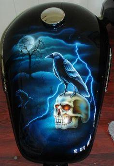 custom paint Harley Custom Motorcycle Paint Jobs, Custom Paint Jobs, Skull Painting, Car Painting, Harley Davidson Images, Motorcycle Tank, Collor, Airbrush Art, Bike Art