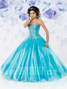 Organza ball gown, strapless straight across, lace-up back, basque waistline, dress features sequins, rhinestones & includes a jacket. We have the Purple Gown in our store but can easily get you the blue one if requested.