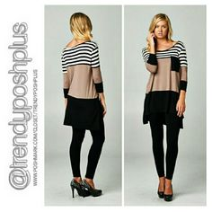 """Taupe Color Block Tunic Popular taupe tunic featuring white and black stripe color blocking design. Length Front 29"""" Back 32"""" Bust 42"""" and comfortably stretches to 48 """" 95 % Rayon 5 % Spandex  Made in USA Tops Tunics"""