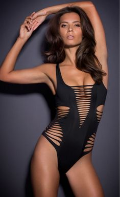 Black Shred Cutout One Piece Swimsuit