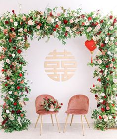 Double Happiness Sign + Flower Arch modern Chinese wedding decor wedding backdrop Traditional meets Modern Chinese Wedding in Los Angeles Chinese Wedding Decor, Rustic Wedding Decorations, Ceremony Decorations, Oriental Wedding, Traditional Chinese Wedding, Modern Traditional, Chinese Wedding Dresses, Traditional Wedding Decor, Ceremony Backdrop