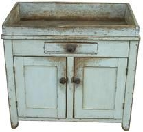 """T461 Pennslyvania Early 19th Century Bedford Co. Drysink, with old over the original oyster white paint, dovetailed well, square nailed single drawer, one board construction, the wood is pine, very small size, measures 19"""" deep x 37"""" wide x 36"""" tall back 32 3/4"""" tall front"""
