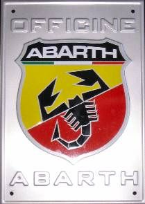 Abarth Large Aluminium Wall Plaque Sign 'Officine Abarth' - 59106323 Brand New and Genuine Abarth MerchandiseThis is a large x wall plaque made out of aluminium with the Abarth logo and Officine Abarth embos Fiat Abarth, Car Badges, Car Logos, Car Symbols, Fiat 124 Spider, Badge Logo, Fiat 500, Wall Plaques, Cars Motorcycles