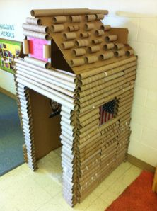 Can I go back to teaching just so I can do this in my classroom!?  Lincoln in his toilet paper log cabin is awesome!