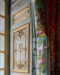 LES LIAISONS DE MARIE ANTOINETTE:  PEEK A BOO  Robert Polidori, Versailles, Chambre de la Reine, Detail of Boiseries and Rideaux #1, 2007