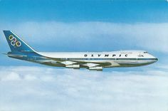 Olympic Airways Card postal Boeing B747-200 Commercial Plane, National Airlines, Boeing 747, Space Crafts, Olympics, Aviation, Nostalgia, Aircraft, Ads