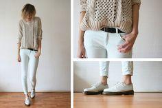 Mint & cream. (by Sietske L) http://lookbook.nu/look/3352215-Romwe-Jumper-Zara-Mintgreen-Jeans-Dr-Martens
