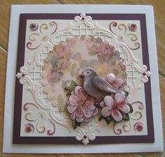Borduren Embroidery Cards, Big Shot, Petra, Scrapbooks, Projects To Try, Paper Crafts, Fancy, Frame, Inspiration