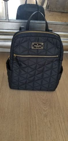 ed9c8a2c6651 Kate Spade black Backpack quilted with leather straps medium size. Very cute!   fashion