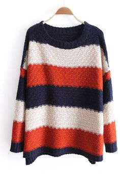 Navy White Orange Striped Long Sleeve Pullovers Sweater