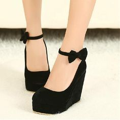 Wedges Shoes | Beautiful Black  Round Closed Toe Suede Super High Heel Wedges - Hugshoes.com
