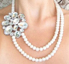Bridal Necklace Wedding Necklace Bridal Jewelry Pearl by zafirenia