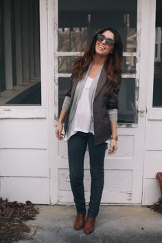 LOVE this - blazer with loose cardigan