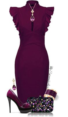 Gorgeous, classy, purple outfit. For for business, dates and formal events.