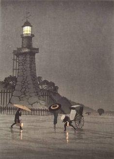 Kiyochika KOBAYASHI,  A Rainy Day at Kudan, ca. 1910-20 http://thingsthatquickentheheart.blogspot.co.uk/2011/08/rain-japanese-woodcuts.html