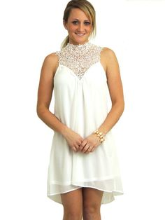Dreamland Lace Neck Dress - White - $52.00 | Daily Chic Dresses | International Shipping
