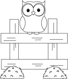 black+and+white+owl+clipart | Black and White Farm Owl Clip Art Image - black and white outline of a ...