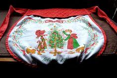 Vintage Holly Hobbie Christmas Apron Adult Half Waist Apron Nice!
