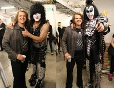 Caleb with Paul Stanley(left) & Gene Simmons(right) Paul Stanley, Gene Simmons, American Idol, Kiss, Punk, Style, Fashion, Swag, Moda