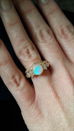 """Antique Diamond Opal Engagement Ring Yellow Gold 1920s Gemstone Rustic Bohemian PenelliBelle Exclusive """"The Florence"""" by PenelliBelle on Etsy https://www.etsy.com/nz/listing/477372410/antique-diamond-opal-engagement-ring"""