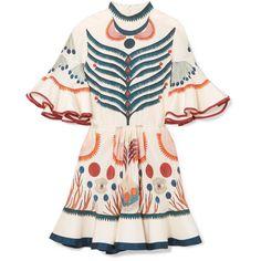 Chloé Ruffled printed silk mini dress (73.175 ARS) ❤ liked on Polyvore featuring dresses, silk mini dress, silk dress, mini dress, long-sleeve mini dresses and ruffle sleeve dress