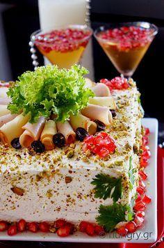 Αλμυρή Τούρτα Party Food For Adults, Party Food Buffet, Torte Recipe, Sandwich Cake, Finger Food Appetizers, Food Decoration, Savoury Cake, Clean Eating Snacks, Holiday Recipes