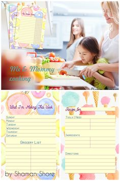Fun printable recipe cards for kids, blank recipe templates for kids, color recipe card templates, colorful kids cooking cards, A4 pdf digital download