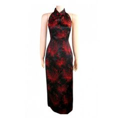 Periwing Black & Red Satin Chrysanthemum Print Backless Chinese Dress Cheongsam