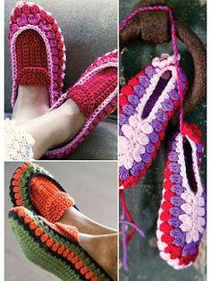 Crochet slippers - 2 Pantuflas diferentes de Crochet.Tutos - Patrones para Crochet