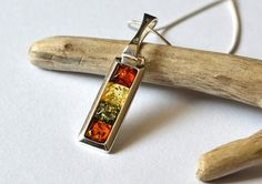 Multicolored Amber Pendant Necklace, Amber necklace, amber pendant, baltic amber, amber jewelery