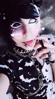 monochrome pet  - I hope you enjoy this black and white look that I've been wanting to do for literally years, lolol c': love ya, dudes~! <333 - #monochrome #blackandwhite #pet #kawaii #cute #kawaiiboy #cuteboy #creepy #creepycute #harajuku #jfashion #makeup #emo #scene #piercings #alternative #tongue