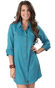 Cowgirl Justice® Women's Turquoise Long Sleeve Western Shirt Dress