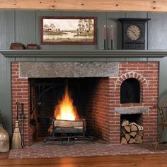 Timber Frame Cape House Center Chimney Fireplace